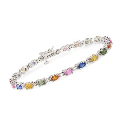 6.00 ct. t.w. Multicolored Sapphire and 1.00 ct. t.w. Diamond Tennis Bracelet in 14kt White Gold, , default