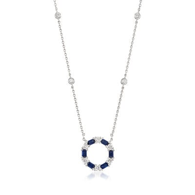 Gregg Ruth .72 ct. t.w. Sapphire and .44 ct. t.w. Diamond Circle Pendant Necklace in 18kt White Gold