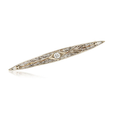 C. 1950 Vintage .35 Carat Diamond Bar Pin in Platinum with 14kt Yellow Gold, , default
