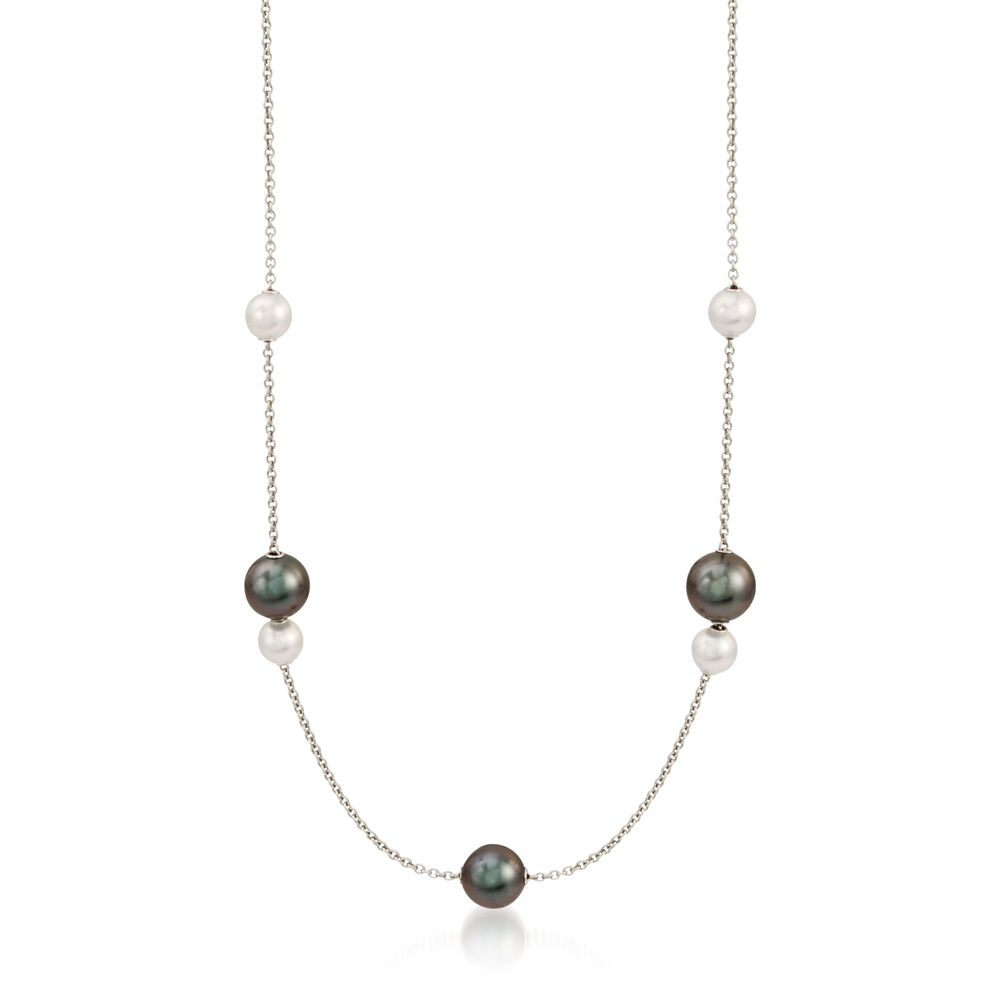 ca35e0d2f Mikimoto Black Cultured South Sea and Akoya Pearl Necklace in 18-Karat  White Gold with