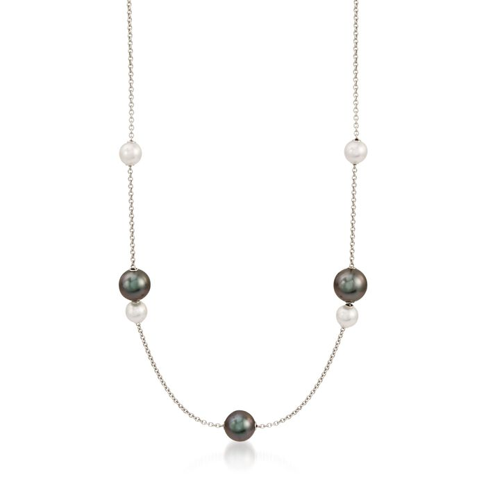 """Mikimoto Black Cultured South Sea and Akoya Pearl Necklace in 18-Karat White Gold With Diamonds. 19"""", , default"""