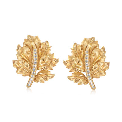C. 1970 Vintage .35 ct. t.w. Diamond Leaf Earrings in 18kt Yellow Gold , , default