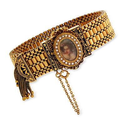 C. 1930 Vintage Hamilton Tassel Bracelet with Hidden Watch in 14kt Yellow Gold