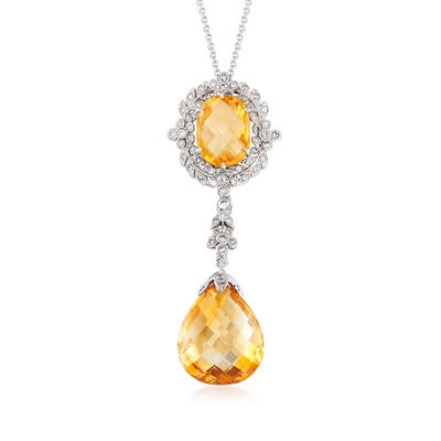 C. 1990 Vintage 16.00 Carat Citrine and .53 ct. t.w. Diamond Necklace in 18kt White Gold, , default