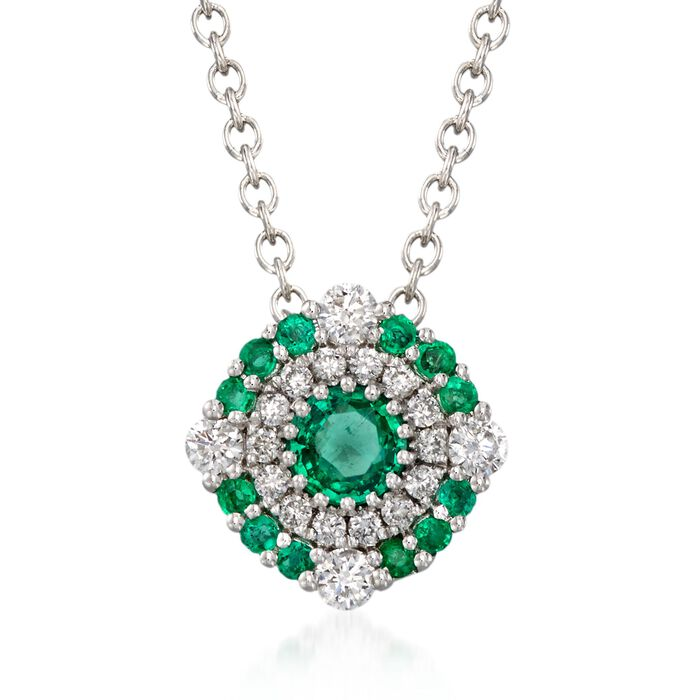 """Gregg Ruth .40 Carat Total Weight Emerald and .23 Carat Total Weight Diamond Pendant Necklace in 18-Karat White Gold. 18"""", , default"""