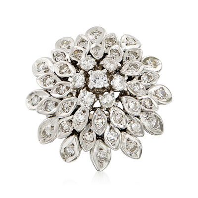 C. 1970 Vintage 1.25 ct. t.w. Diamond Cluster Ring in 14kt White Gold, , default