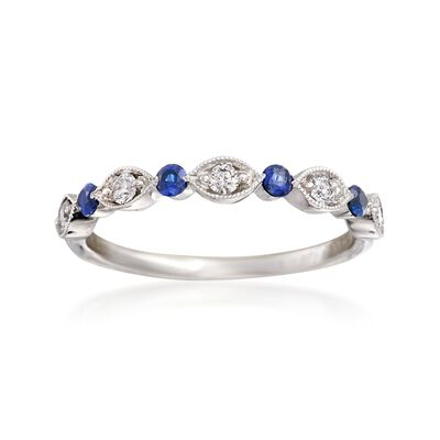 Henri Daussi .20 ct. t.w. Sapphire and .15 ct. t.w. Diamond Wedding Ring in 14kt White Gold