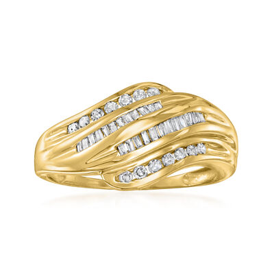 C. 1980 Vintage .45 ct. t.w. Diamond Curve Ring in 10kt Yellow Gold