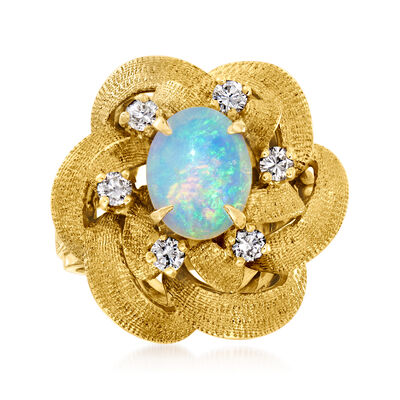 C. 1970 Vintage Opal and .35 ct. t.w. Diamond Ring in 14kt Yellow Gold
