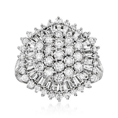 C. 2000 Vintage 1.60 ct. t.w. Diamond Cluster Ring in 14kt White Gold