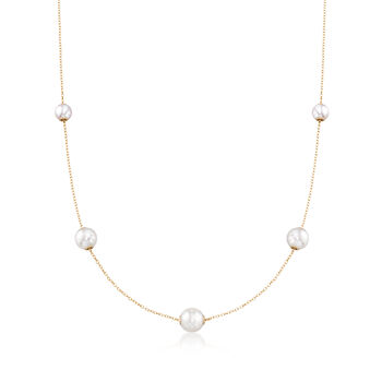 Mikimoto 5.5-7.5mm A+ Akoya Pearl Necklace in 18kt Yellow Gold , , default