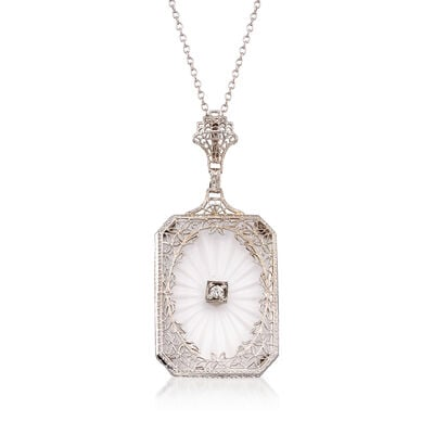 C. 1950 Vintage Rock Crystal and .10 ct. t.w. Diamond Pendant Necklace in 14kt White Gold, , default