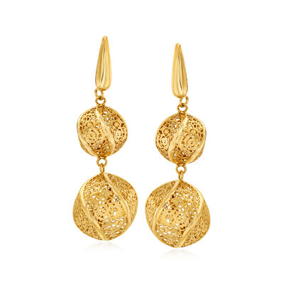 Italian 14kt Yellow Gold Double Twisted Lace Ball Drop Earrings, , default