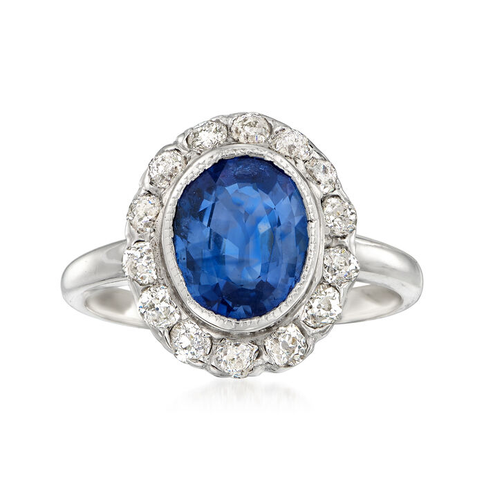 Circa 1990 Vintage 2.36 Carat Sapphire Ring with Diamonds. Size 6.25, , default
