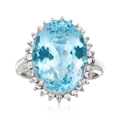 C. 1990 Vintage 9.15 Carat Aquamarine and .36 ct. t.w. Diamond Ring in Platinum