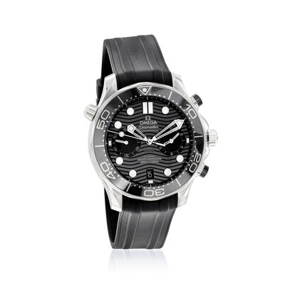 Omega Seamaster Diver Men's 44mm Automatic Chronograph Stainless Steel Watch with Black Rubber Strap