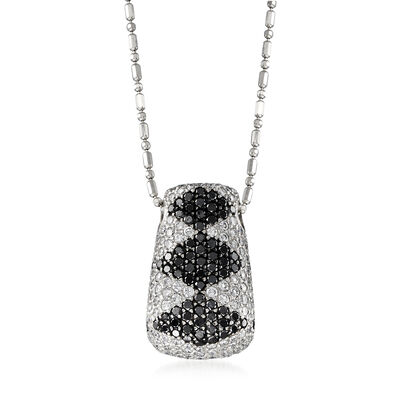 C. 2000 Vintage 5.05 ct. t.w. Black and White Diamond Pendant Necklace in 18kt White Gold, , default