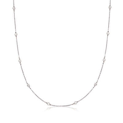 C. 1990 Vintage .90 ct. t.w. Diamond Station Necklace in Platinum
