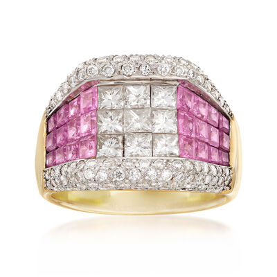 C. 1990 Vintage 2.20 ct. t.w. Pink Sapphire and 2.15 ct. t.w. Diamond Ring in 14kt Yellow Gold