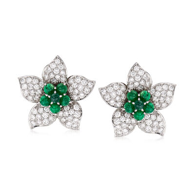 C. 1980 Vintage 4.40 ct. t.w. Diamond and 2.40 ct. t.w. Emerald Flower Earrings in 18kt White Gold
