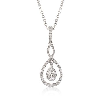 "Gregg Ruth .49 Carat Total Weight Diamond Twisted Pendant Necklace in 18-Karat White Gold. 18"", , default"