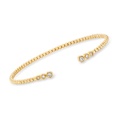 Gabriel Designs .20 ct. t.w. Diamond Cuff Bracelet in 14kt Yellow Gold