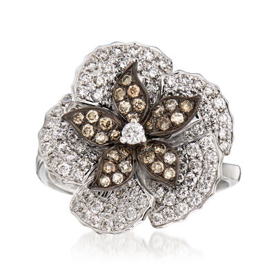 C. 1990 Vintage Piero Milano 1.18 ct. t.w. White and Cognac Diamond Flower Ring in 18kt White Gold, , default