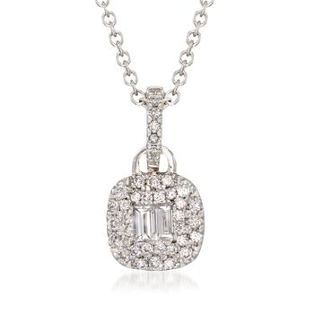"Gregg Ruth .47 Carat Total Weight Baguette and Round Diamond Necklace in 18-Karat White Gold. 18"", , default"