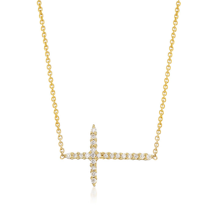 Roberto Coin .10 ct. t.w. Diamond Sideways Cross Necklace in 18kt Yellow Gold. 157