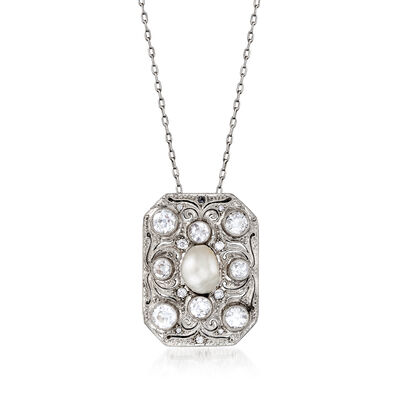 C. 1930 Vintage 9x7mm Cultured Baroque Pearl and 1.85 ct. t.w. Diamond Filigree Pendant Necklace in Platinum
