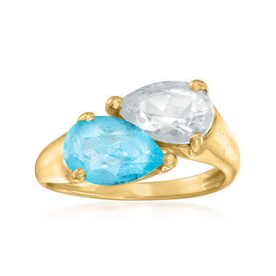 C. 1990 Vintage 1.60 Carat Swiss Blue Topaz and 1.45 Carat White Topaz Bypass Ring in 14kt Yellow Gold