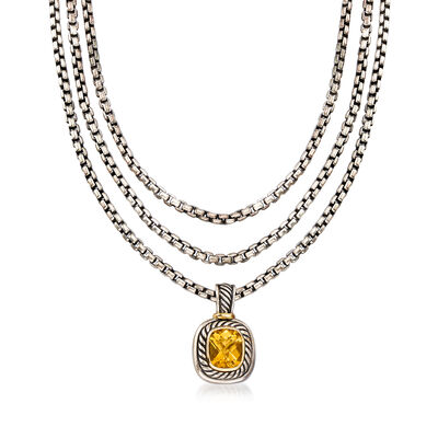 C. 1990 Vintage David Yurman 3.75 Carat Citrine Three-Row Necklace in Sterling Silver with 14kt Yellow Gold, , default