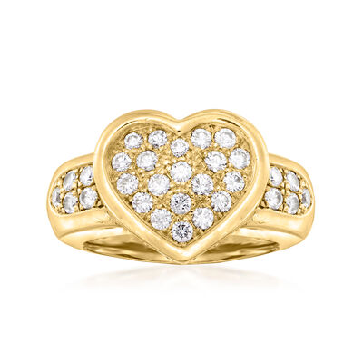 C. 1990 Vintage 1.60 ct. t.w. Diamond Heart Ring in 18kt Yellow Gold