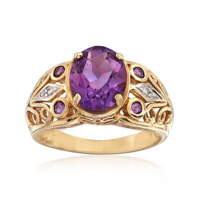C. 1950 Vintage 2.40 ct. t.w. Amethyst Filigree Ring in 10kt Yellow Gold, , default