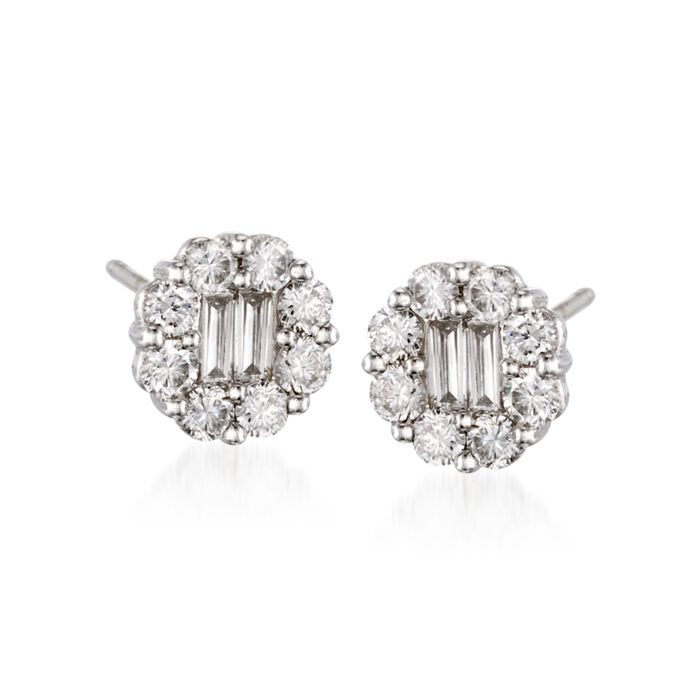 Gregg Ruth .90 Carat Total Weight Diamond Studs in 18-Karat White Gold, , default