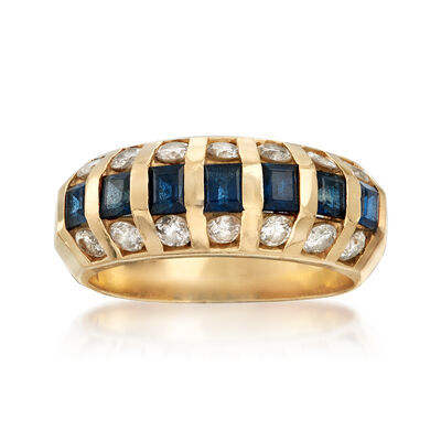 C. 1980 Vintage 1.05 ct. t.w. Sapphire and .85 ct. t.w. Diamond Dome Ring in 14kt Yellow Gold, , default