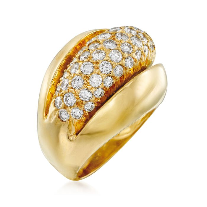 C. 1980 Vintage 1.75 ct. t.w. Pave Diamond Dome Ring in 18kt Yellow Gold