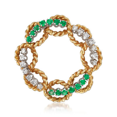 C. 1970 Vintage .70 ct. t.w. Emerald and .65 ct. t.w. Diamond Circle Pin in 18kt Yellow Gold, , default