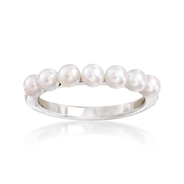 Mikimoto 3.5mm A+ Akoya Pearl Ring in 18kt White Gold, , default