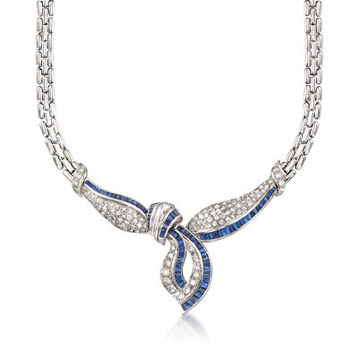 C. 1980 Vintage 6.80 ct. t.w. Sapphire and 4.50 ct. t.w. Diamond Knot Necklace in 18kt White Gold, , default