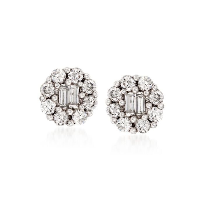 Gregg Ruth .75 Carat Total Weight Diamond Studs in 18-Karat White Gold, , default