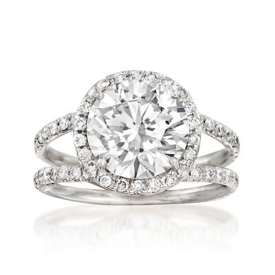 4.22 ct. t.w. Diamond Halo Ring in 18kt White Gold, , default