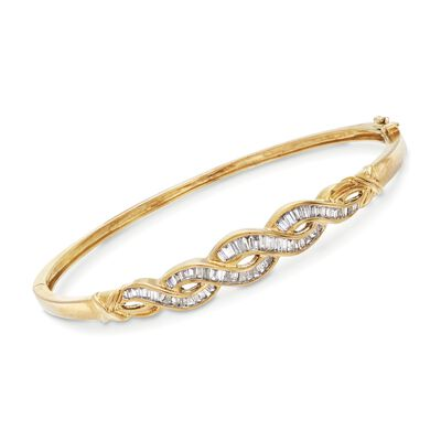 C. 1980 Vintage 1.10 ct. t.w. Baguette Diamond Braid Bangle Bracelet in 10kt Yellow Gold, , default