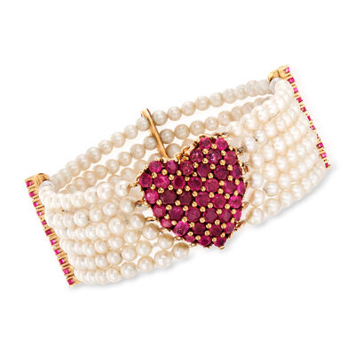 C. 1970 Vintage 3.5mm Cultured Pearl and 7.15 ct. t.w. Ruby Multi-Row Heart Bracelet in 14kt Yellow Gold, , default
