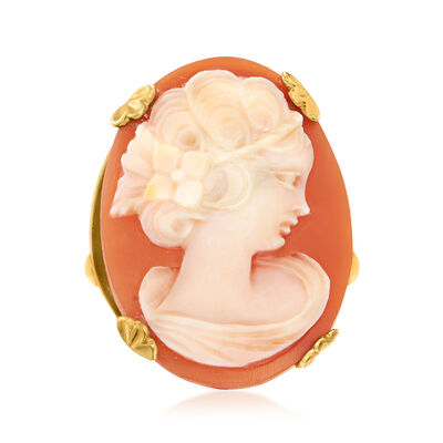C. 1960 Vintage Pink Shell Cameo Ring in 14kt Yellow Gold