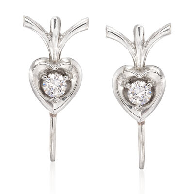 C. 1970 Vintage .20 ct. t.w. Diamond Heart Earrings in 18kt White Gold, , default