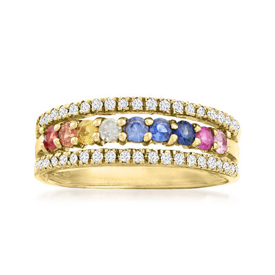 C. 1990 Vintage .75 ct. t.w. Multicolored Sapphire and .25 ct. t.w. Diamond Ring in 14kt Yellow Gold