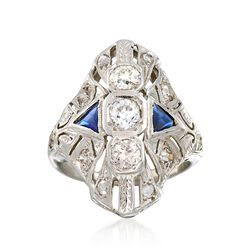 C. 1930 Vintage .60 ct. t.w. Diamond and .25 ct. t.w. Synthetic Sapphire Dinner Ring in 18kt White Gold, , default