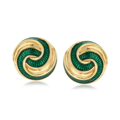 C. 1970 Vintage Green Enamel 18kt Yellow Gold Swirl Clip-On Earrings, , default