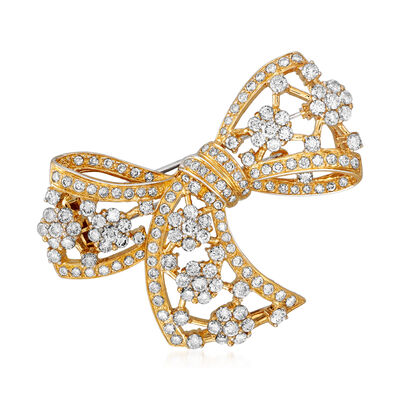C. 1980 Vintage 5.48 ct. t.w. Diamond Bow Pin in 18kt Yellow Gold